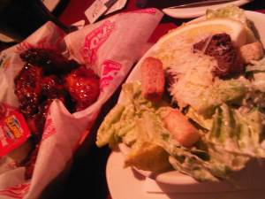 Sweet Asian Wings and Caesar Salad