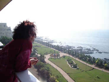 Me on the balcony at Napean Sea Road in Mumbai