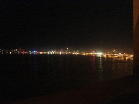 Lights at night along Marine Drive