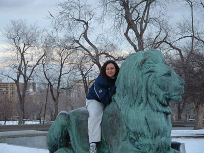 Shanta on one of the Lions at the base of Mont Royal