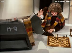 Tom Baker as Doctor Who and K-9 playing chess