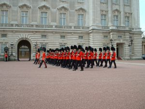 Guards outside Buckingham Palace, London, England
